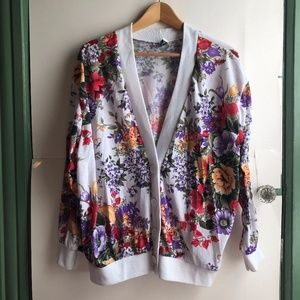 VINTAGE White Purple Red Floral Cardigan Sweater